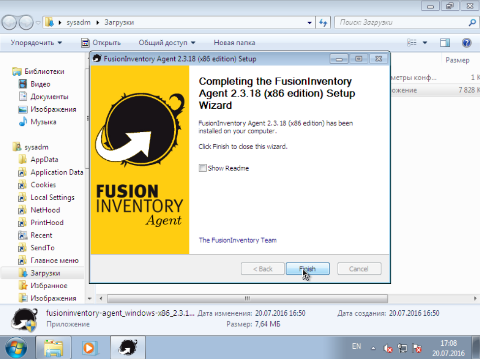 FusionInventory installing end